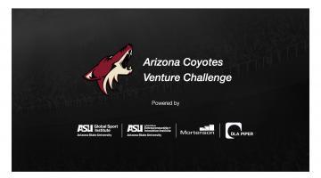 Arizona Coyotes logo with Global Sport Institute, Entrepreneurship + Innovation, Mortenson, and DLA Piper logos below.