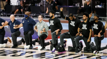 The NBA has largely supported its players' protests, including kneeling during the anthem.  David E. Klutho/Sports Illustrated
