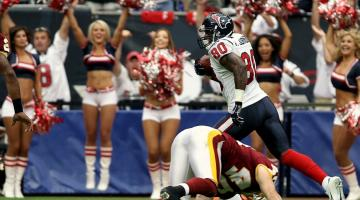 Andre Johnson of the NFL's Houston Texans receives a pass.