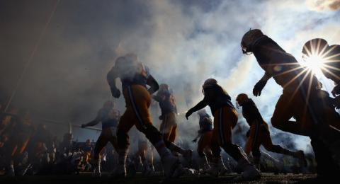 The California Golden Bears run out on to the field for their game against the UCLA Bruins at California Memorial Stadium on October 13, 2018 in Berkeley, California. (Photo by Ezra Shaw/Getty Images)