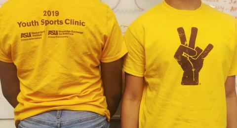 Youth Sports clinic shirt given out to program recipients