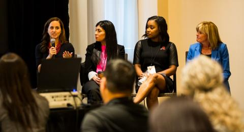 4 women panelists speaking at Global Sport Summit 2019