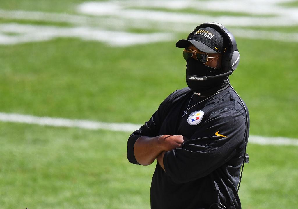 PITTSBURGH, PA - SEPTEMBER 20: Head coach Mike Tomlin of the Pittsburgh Steelers looks on during the game against the Denver Broncos at Heinz Field on September 20, 2020 in Pittsburgh, Pennsylvania. (Photo by Joe Sargent/Getty Images)