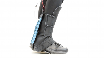 A soft robotics exosuit designed to assist with rehabilitation of the foot and ankle. The project, led by Fulton Schools students Marielle Debeurre, Tiffany Hertzell and Carly Thalman along with Assistant Professor Hyunglae Lee, was awarded the top prize