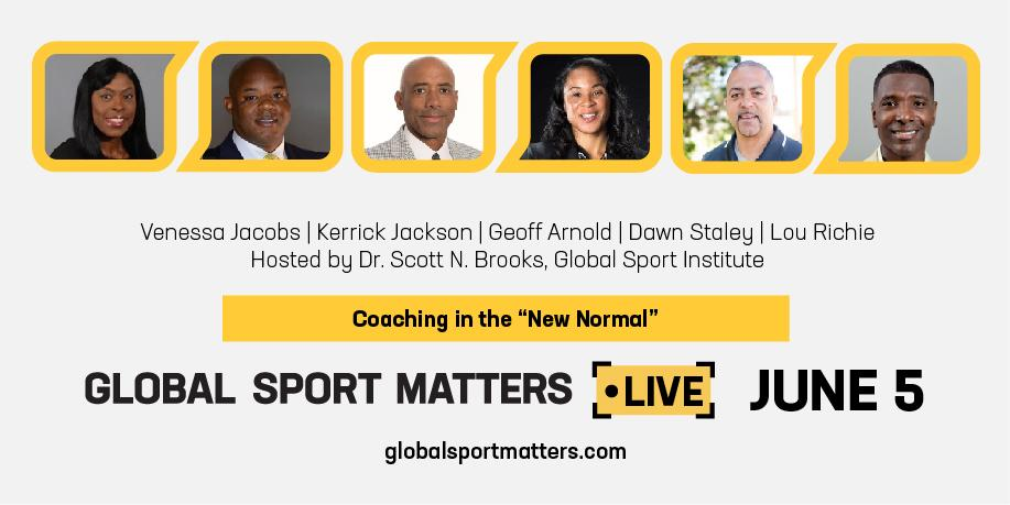 """Graphic of the panel members for Coaching in the """"New Normal"""" event."""