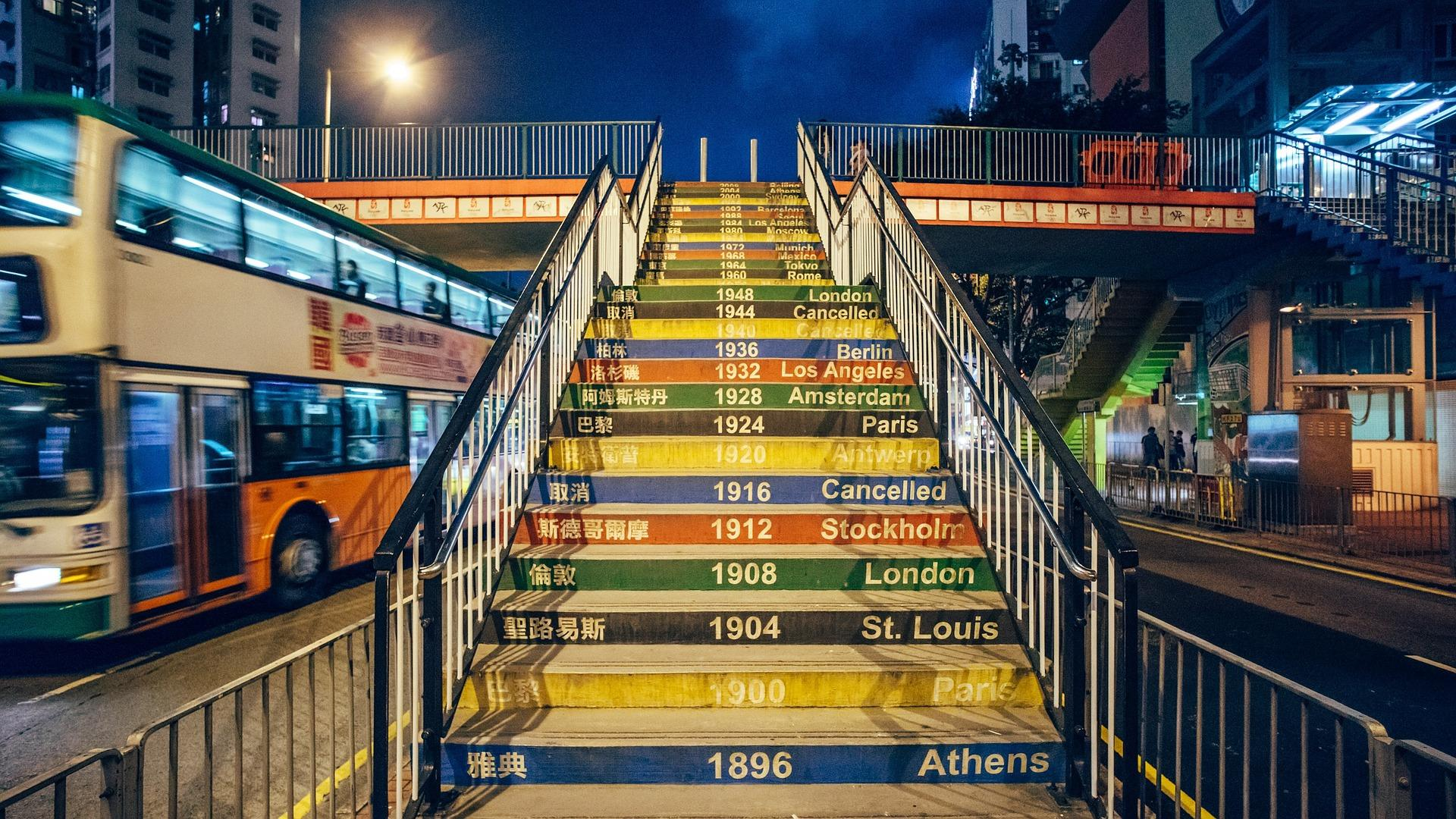 Mural of Olympic Game years painted on bridge steps in a city