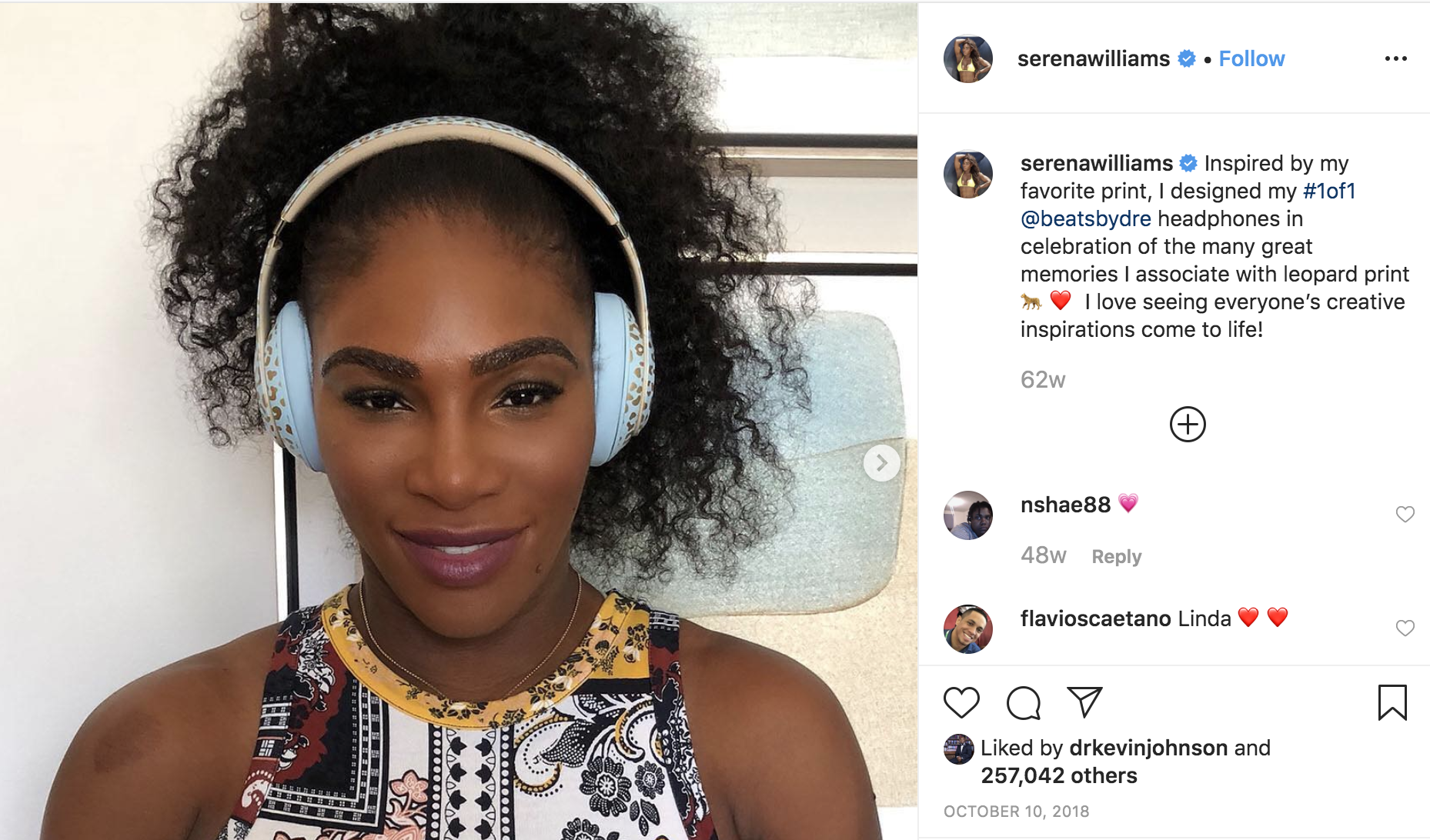 Tennis player Serena Williams poses with Beats by Dre headphones on.