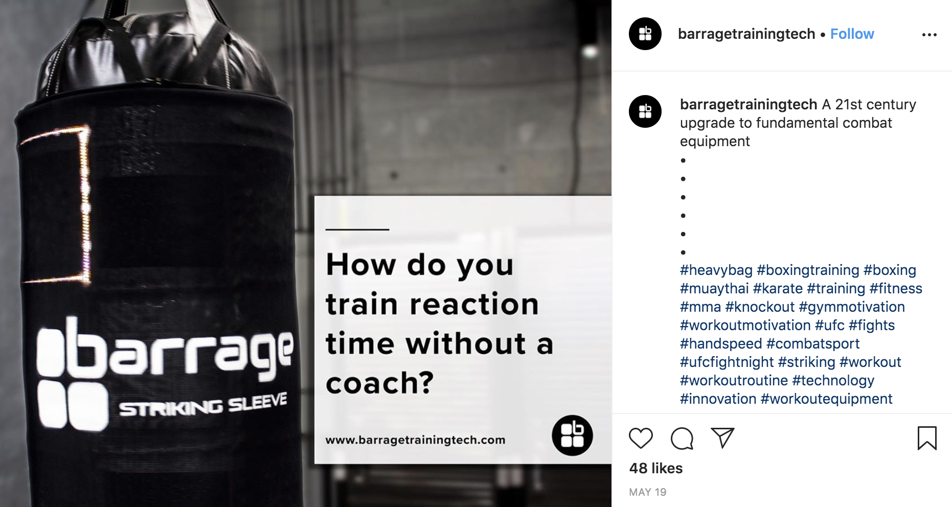"""Instagram post from Barrage Training Tech of a punching bag and quote that reads, """"How do you train reaction time with out a coach?"""""""