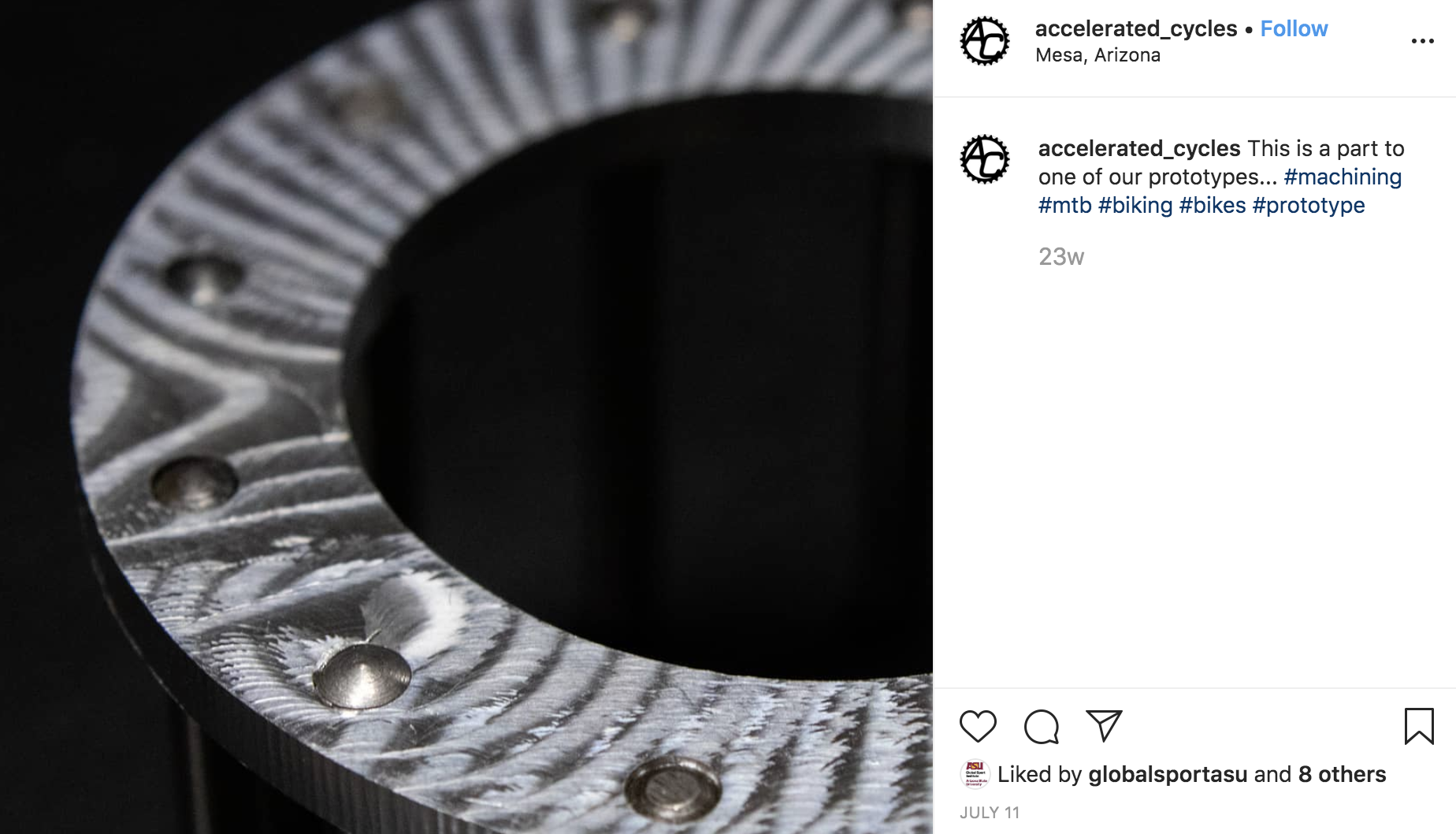 Instagram post from Accelerated Cycles that shows a close-up of a machine prototype.