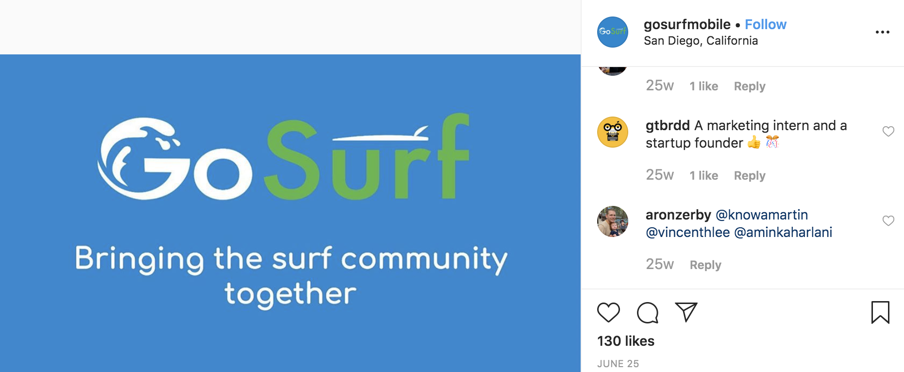"""Instagram post from GoSurf Mobile that shows their green and blue logo and reads """"Bringing the surf community together."""""""
