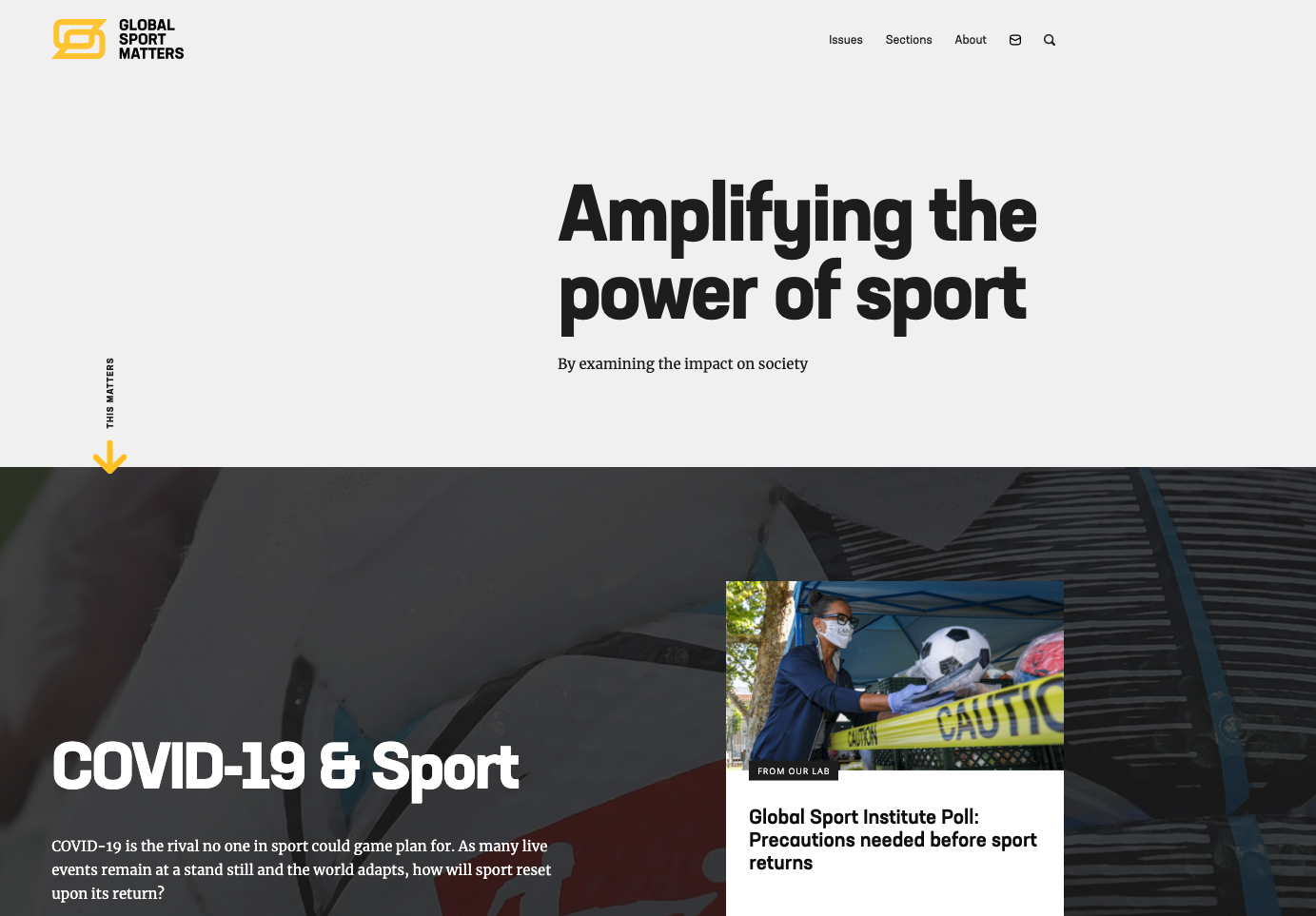 Screenshot of the Global Sport Matters website homepage.