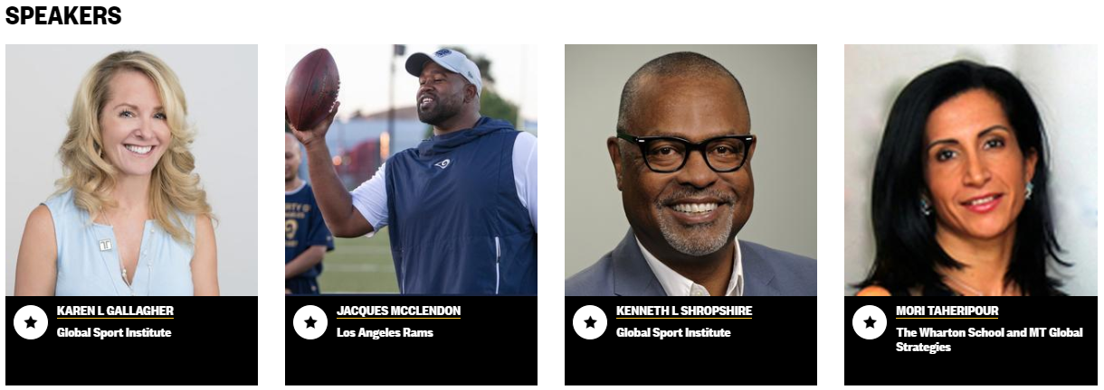 SXSW 2020 sport panelists: Karen Gallagher, Global Sport Institute, Jacques McClendon, LA Rams, Kenneth Shropshire, Global Sport Institute, Mori Taheripour, Wharton School and MT Global Strategies